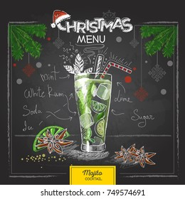 Chalk drawing christmas menu design. Cocktail mojito