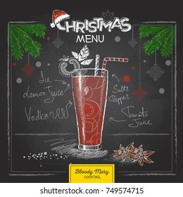 Chalk drawing christmas menu design. Cocktail bloody mary
