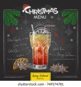 Chalk drawing christmas menu design. Cocktail long island ice te