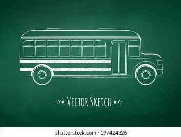 Chalk drawing of a school bus on green school board background. Vector illustration.