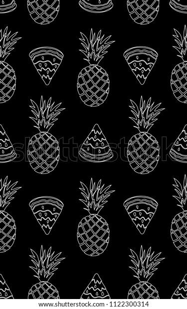 Chalk Drawing Seamless Pattern Pineapple Watermelon Stock
