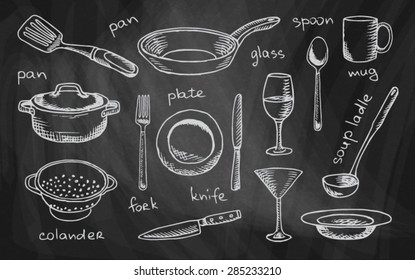 chalk drawing tableware on the chalkboard