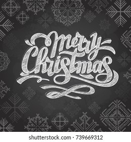 Chalk drawing typography christmas card design