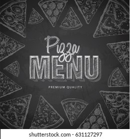 Chalk drawing typography pizza menu design