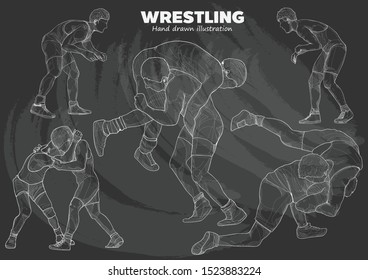chalk drawing vector of Wrestling. vector Illustration. Wrestling background.