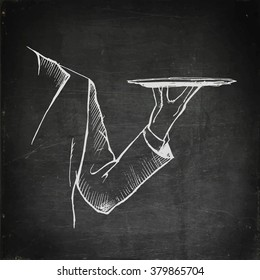Chalk drawing waiter hand holding empty tray. Chalkboard menu. Vector stock illustration