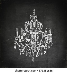 Chalk drawn chandelier on blackboard. Vector illustration