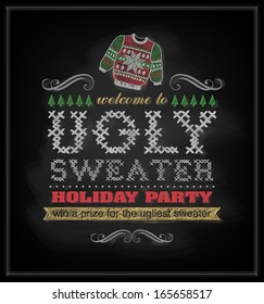 Chalk drawn Christmas invitation on ugly sweater holiday party.