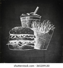 Chalk drawn fast food menu on black board. Hamburger, french fries and soda with ice cubes. Fast food icon. Fast food drawn. Fast food concept. Fast food menu. Vector illustration.