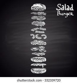 Chalk drawn illustration of Salad Burger with ingredients. Burger menu theme. Fast food collection.