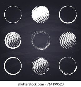 Chalk drawn round, circle. Geometric figures on chalkboard background.