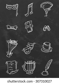 Chalk drawn set of theater icons on black board. Vector illustration.