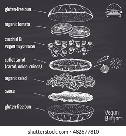 Chalk drawn vegan carrot burger with quinoa, zucchini and vegan mayonnaise with ingredients. Infographics.