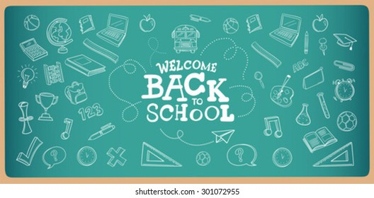 Chalk drawn welcome back to school icons vector on chalkboard