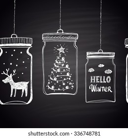 Chalk drawn white horizontal border with Christmas tree, clouds, text, snow and  deer in a jar. Happy New Year Theme. Holidays collection. Card design.