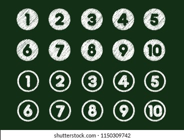chalk drowing number icon set (from 1 to 10)