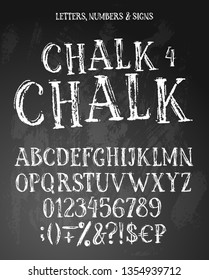 Chalk english alphabet contains uppercase letters, numbers, signs. White characters on textured background.