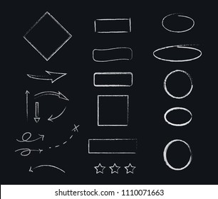 Chalk forms drawn with white chalk on blackboard. Graphic elements collection with frames, arrows and round shapes etc.