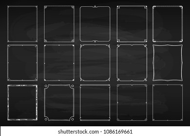 Chalk frame set. Black surface for text or drawing done with chalk, dark-coloured board for ornament and decoration. Vector flat style cartoon illustration