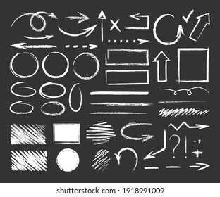 Chalk graphic elements. Vector set of hand drawn chalk frames, arrows, oval, grunge line, rectangle, strokes, stripes. Chalk forms and brushes on school blackboard. Wavy, dashed underline strokes