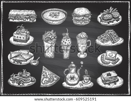 Chalk graphic illustration of assorted food, desserts and drinks, hand drawn vector symbols set on a chalkboard backdrop