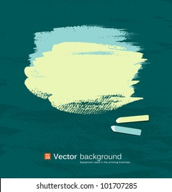 Chalk green and blue pastel space for text on blackboard. vector illustration