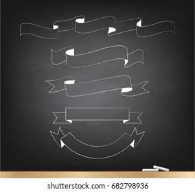 Chalk grunge ribbon on blackboard set for design banner, badge and icon on white background, vector illustration