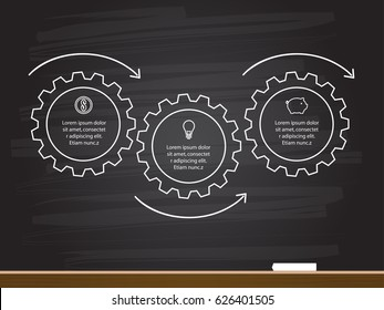 Chalk hand drawing with 3 steps business infographics timeline in gears shape. Vector illustration.