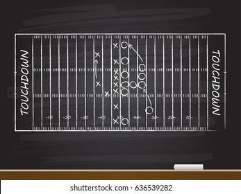 Chalk hand drawing with american football field. Vector illustration.