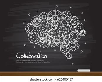 Chalk hand drawing with brain gear and collaboration word. Vector illustration.