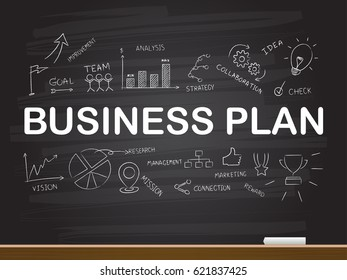 Chalk hand drawing with business plan word. Vector illustration.