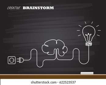Chalk hand drawing with light bulb and brain. Vector illustration.