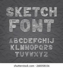 Chalk hand drawing sketch vector alphabet, black & white font on blackboard, uppercase type letters