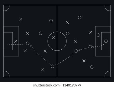 Chalk hand drawing with soccer game strategy. Vector illustration.