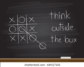 Chalk hand drawing with think outside the box. Vector illustration.