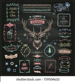 Chalk hand drawn Christmas and New Year sketch elements on chalkboard, doodle graphic line elements - deer, ribbons, frames, dividers and phrases, vintage style vector illustration