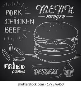 Chalk illustration of Menu Burger