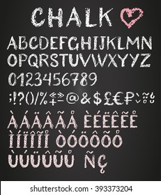 Chalk latin multilingual alphabet. Diacritics, special characters and money signs.