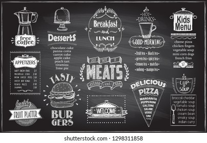 Chalk menu board design for cafe or restaurant, breakfast and lunch, fast food and pizza, meats menu, burgers, appetizers, fruit platter, desserts, drinks and kids menu