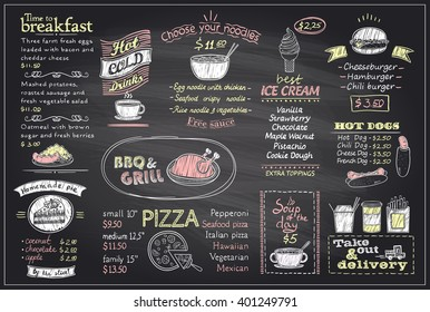 Chalk menu list blackboard design for cafe or restaurant, breakfast and lunch, fast-food and pizza, grill menu, drinks,  mock up