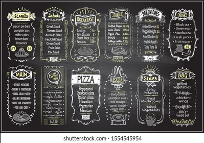 Chalk menu set on a blackboard - sweets, salads, breakfast, starters, sandwiches, drinks, main dishes, coffee menu, pizza, kids menu, sides, BBQ