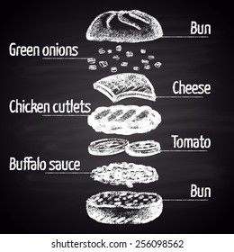 Chalk painted Buffalo chicken burger ingredients. Infographic.