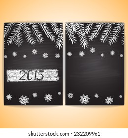 Chalk painted card blank with Christmas trees, snowflakes and text. New Year theme. Flyer design A5 size.