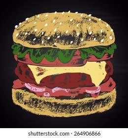 Chalk painted colored classic cheeseburger.