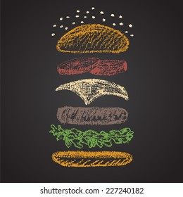 Chalk painted colored components of burger.