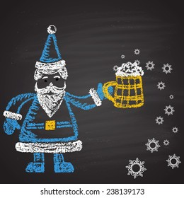 Chalk painted colored illustration of Santa with full mug of beer with snowflakes. Happy New Year theme. Card design.
