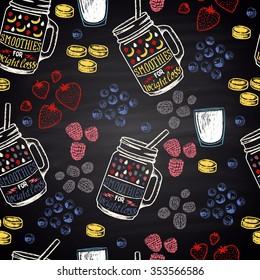 Chalk painted colorful seamless pattern for weight loss smoothies. Ingredients: banana, blueberries, blackberries, strawberries, raspberries, yogurt.