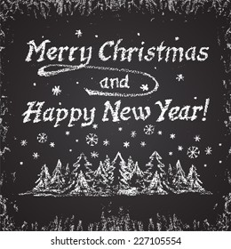 Chalk painted monochrome New Year card with Christmas trees. Happy New Year theme.