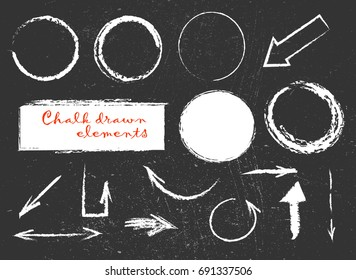 Chalk or pencil drawn graphic elements collection - arrows, frames, rectangle, oval and round shapes. Chalk forms on black board. Vector illustration