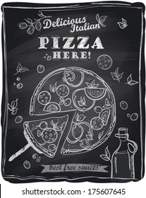 Chalk pizza with the cut off slice, chalkboard background. Delicious pizza menu.